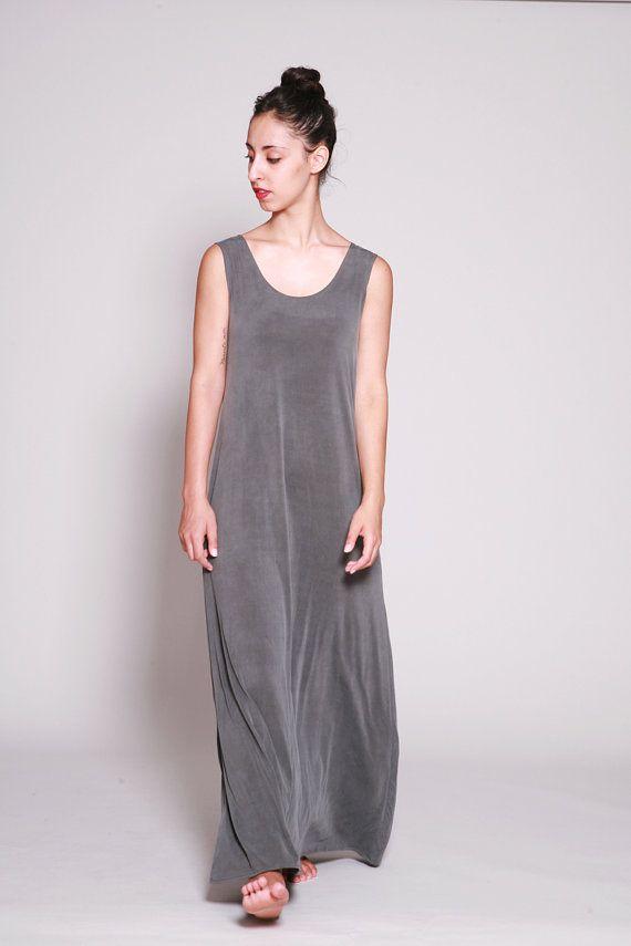 Sleeveless Maxi Dress, Gray Long Summer Dress, Loose Fit, Casual Dresses, Maxi Dress Summer