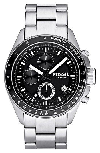Free shipping and returns on Fossil Chronograph Tachymeter Watch, 44mm at Nordstrom.com. Three-eye chronograph dial offers a clean, modern look, surrounded by a tachymeter bezel on a bracelet watch cast in polished stainless steel.