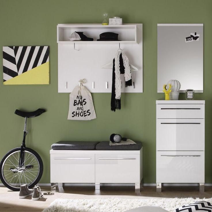 Garderoben Set II Derby Hochglanz Weiß - Trend Team - Möbel günstig kaufen