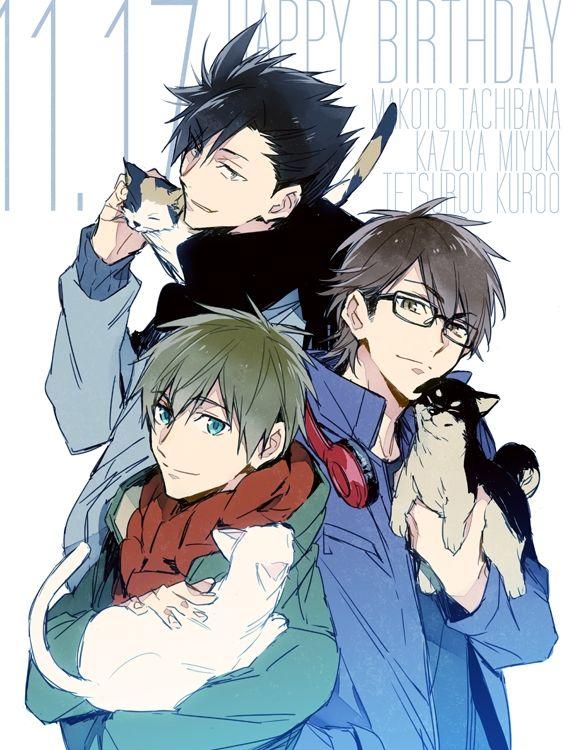 ryugo, Diamond no Ace, Haikyuu!!, Free!, Tachibana Makoto, Kuroo Tetsurou