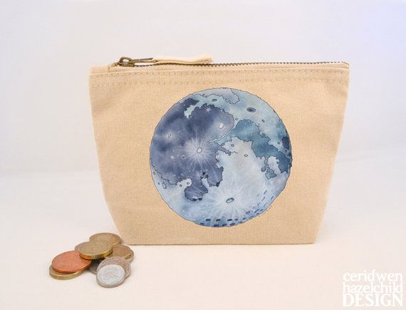 Moon Canvas Zip Purse Makeup Bag Coin Purse Small Accessory Pouch by ceridwenDESIGN http://ift.tt/1q3O55R