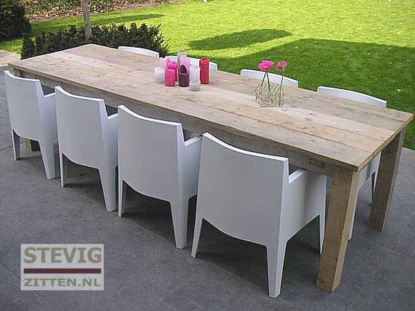 Houten Tuintafel Met Witte Stoelen.Luxe Steigerhouten Tuintafels Realizacia Na Dome Pinterest