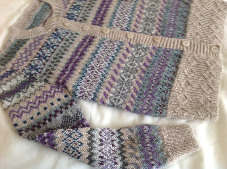 """My nana is knitting queen!! """"Fairisle cardigan knitted by me using Drops alpaca"""""""