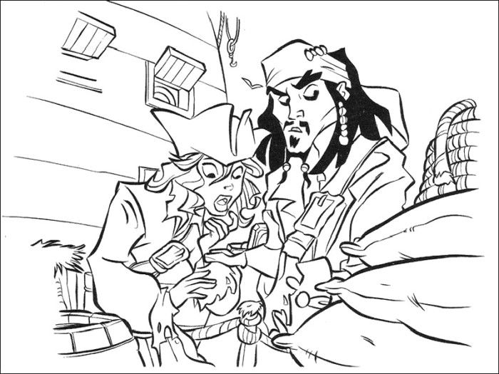 Printable jack sparrow and elizabeth swann coloring pages for Coloring pages of pirates of the caribbean