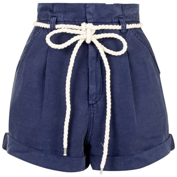 TOPSHOP High-Waisted Paperbag Shorts ($65) ❤ liked on Polyvore featuring shorts, navy blue, nautical shorts, topshop, topshop shorts, high rise shorts and high-waisted shorts