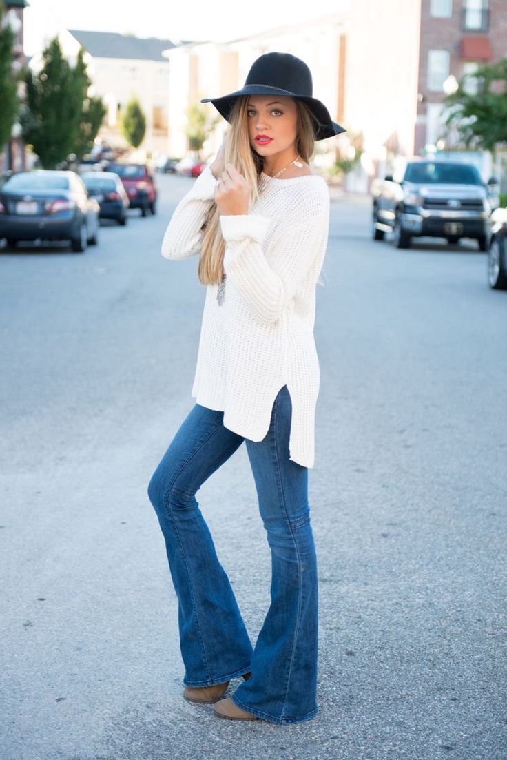 Adorable boho look for fall.  White oversized sweater and flares. Pair with a felt large brimmed hat. Stitch fix fall 2016. Stitch fix fashion trends.