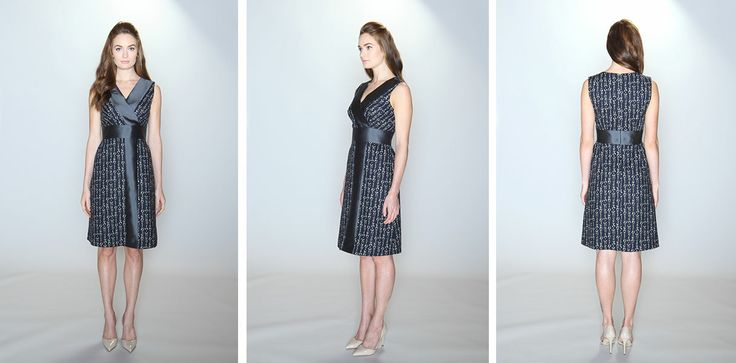vestito   012  the bisect dress 100% cotton navy scribble text print. 51% silk/49% wool charcoal grey contrast panel. Sleeveless dress with surplice bodice, yoke waist and A-line skirt with shirred waist. Lined bodice and skirt. Dry clean only.