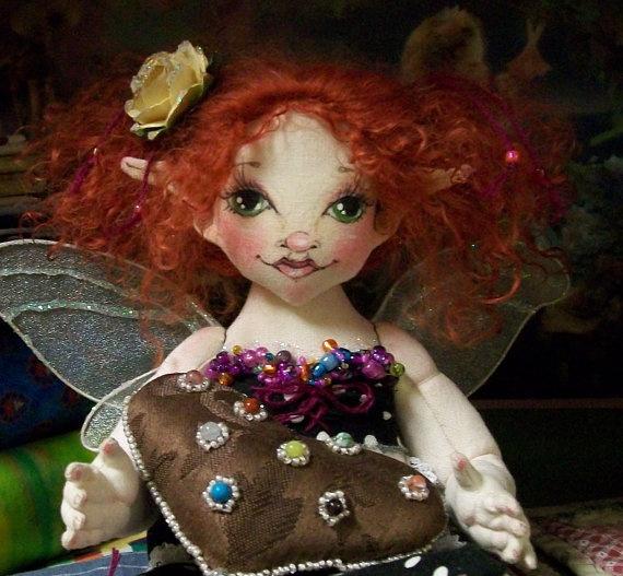 OOAK Cherie Faerie Chocolate Heart Valentine Fairy by theThread, $125.00