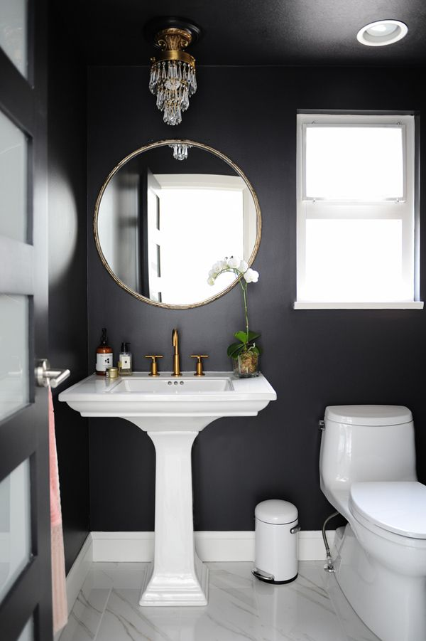 A blend of traditional and modern  - desire to inspire - desiretoinspire.net - Chrissy & Co. = powder room with black walls