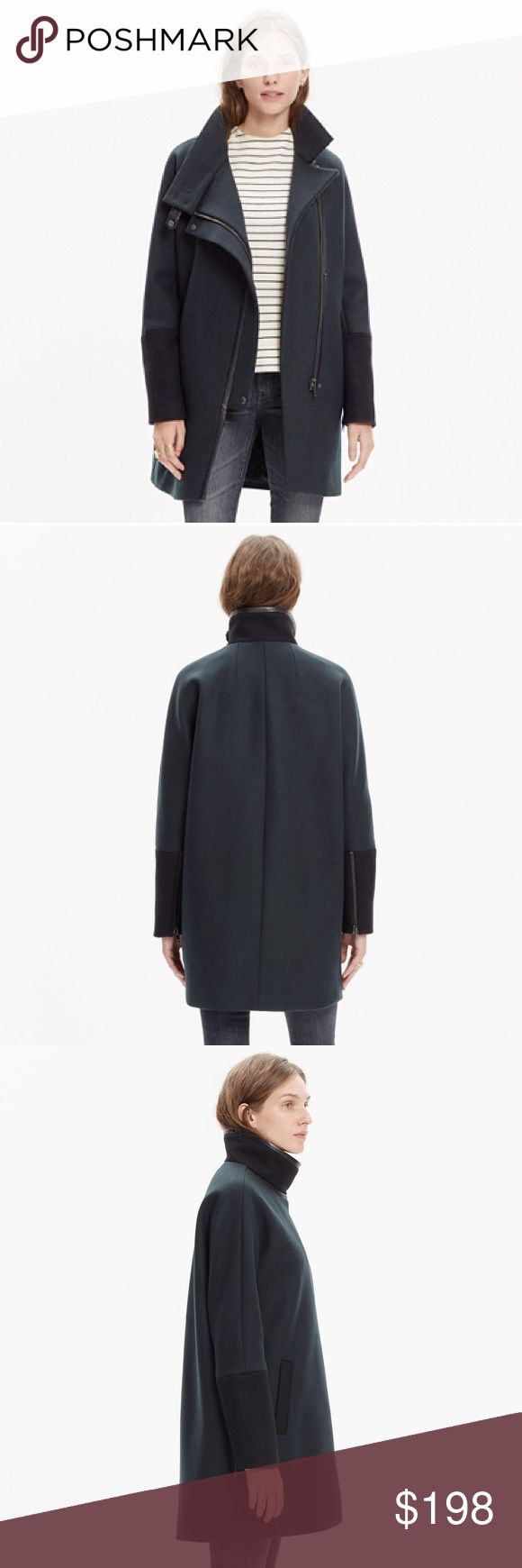 Madewell City Grid Coat in Colorblock Sz 2 Madewell wool City Grid coat, very lightly used. Color is dark forest green with black sleeves. No tears or stains and has only been worn once! 80% wool, 20% nylon, with leather trim on the collar. Size 2, but fit is oversized (would recommend for sizes 4-6 for normal fit). Extremely warm and very well made! I'm selling this one because I ended up getting the black version in a smaller size (which I love!). Madewell Jackets & Coats