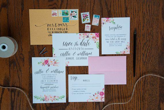 Watercolor Boho Wedding Invitation Suite DEPOSIT von SplashOfSilver
