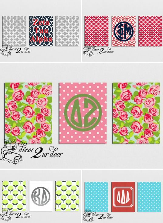 super sweet CANVAS spotlight Create-your-own CUSTOM 3-piece fabric canvas collection to match your sorority room decor! Pick your favorite fabrics, colors & monogram design. Or, purchase a pre-designed set. Sooooo canvas CUTE for your room next fall! XOXO http://www.decor-2-ur-door.com