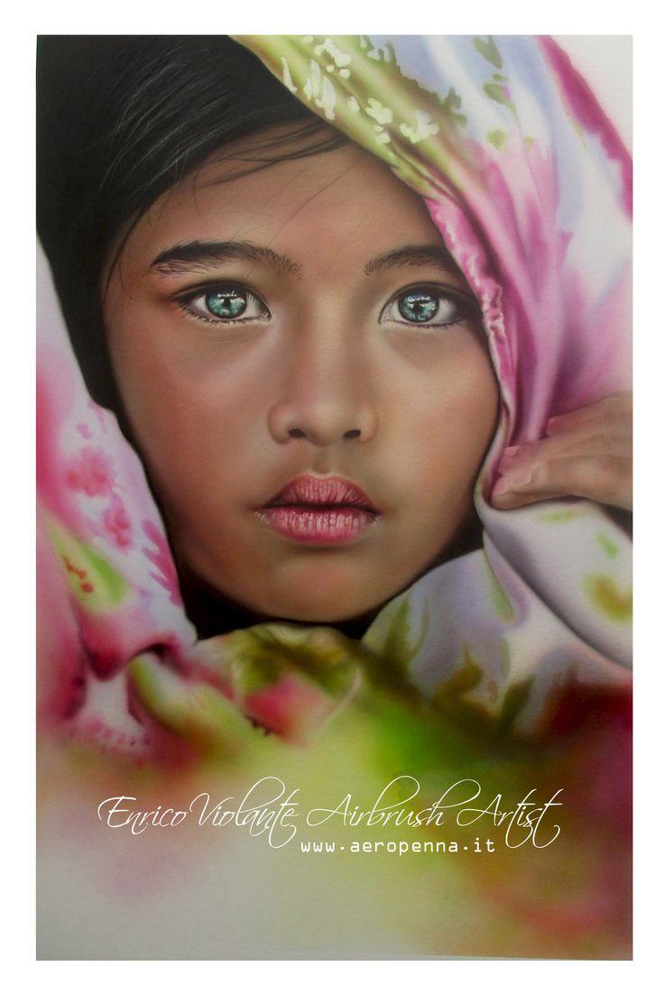 oriental child, airbrush on paper