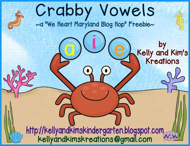 """Fun Crabby Vowels FREEBIE for a limited time! Come check out the """"I HEART MARYLAND"""" blog hop!"""