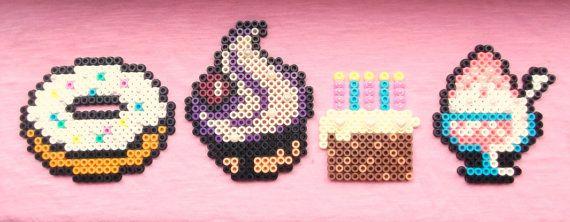 Cute Kawaii Food Fridge Magnets perler beads by obscurepastels