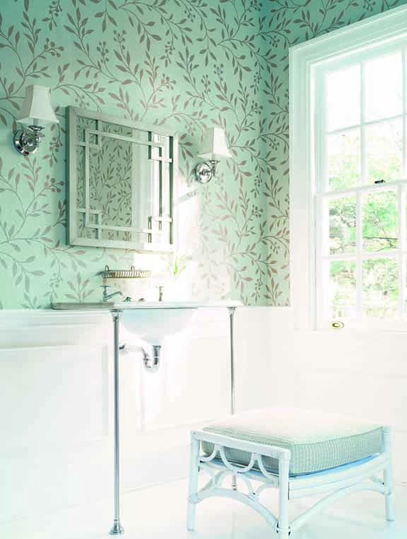 Love Wallpaper Above Molding Chair Rail Works Great For A Powder Room Joli Trail In Aqua From Chelsea Collection