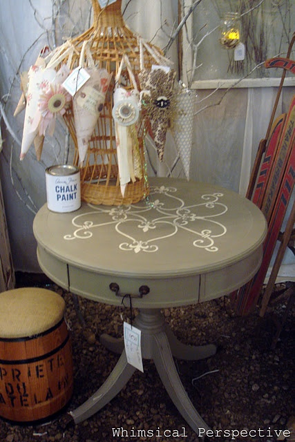 Stenciled top, repainted table  ---- wondering if I should paint mine...