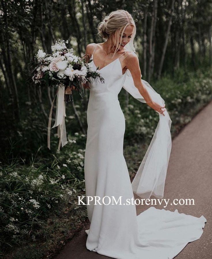 Simple Elegant Long Wedding Dress,Spaghetti Straps Bridal Gown,Beach Wedding Gown 2019 on Storenvy