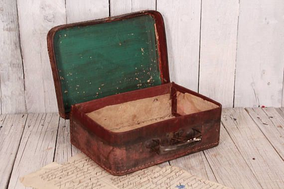 Child's toy carrying case distressed, Antique small suitcase, Old luggage child suitcase, 1930s Child's suitcase, Travel case purse handbag
