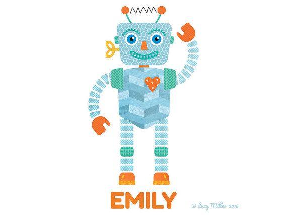 Robot personalised print, FRAMED, Childrens Picture, Nursery Art, Kids Decor, Playroom Art, Illustration, Gift For Kids #LucyMillerShop