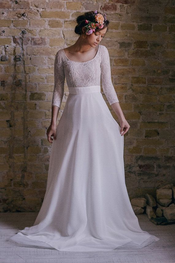 Noncorset vintage wedding dress with sleeves by CathyTelle on Etsy