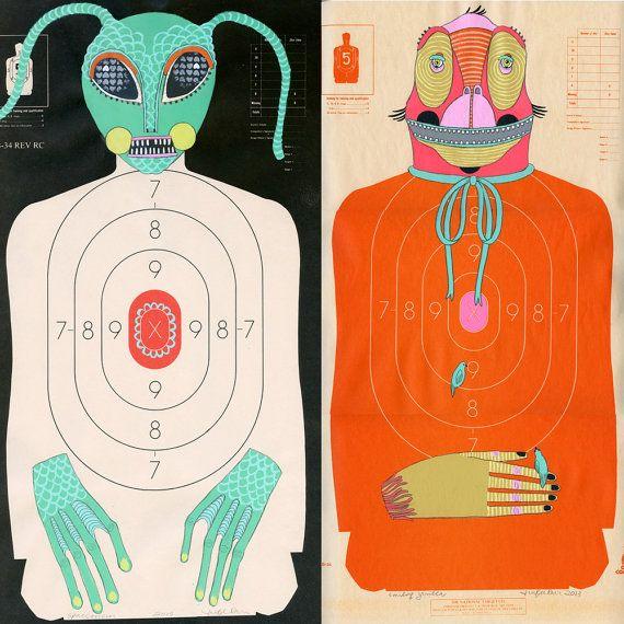Custom Hand-Painted Paper Shooting Targets by jenniferdavis