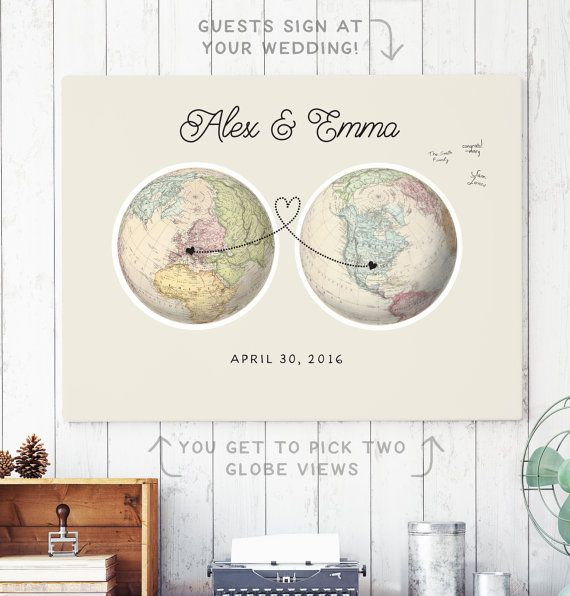 This two globe wedding guest book alternative is perfect for a travel theme wedding and features an authentic vintage map with two views (to show any two continents). We also customize it with your names, date, and a dotted line connecting the location(s) of your choice. Your guests can all sign this print at your wedding and afterwards you can hang it in your home as a beautiful keepsake.  See the matching seating chart here: https://www.etsy.com/listing/270798622/wo...