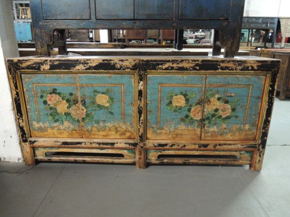 Antique Chinese Storage Credenza In Blue With Floral Motif (Los Angeles)