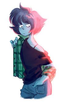 Steven Universe. Green is Peridot's colour! She's wearing a green flannel…