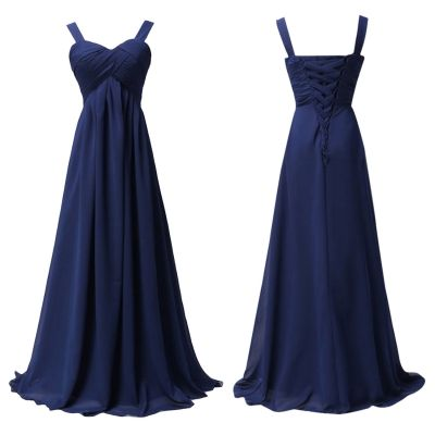 I like it bc it looks simple but elegant, has crisscross type fabric at top like em's dress, ☆ is only $50! Can do express ship for just 10.00$ and looks like the lace up in back would be forgiving on bigger waists, and it's deep blue, navy, midnight blue!   Empire Waist Ball Gown Prom Bridesmaid Maxi Dress - OASAP.com
