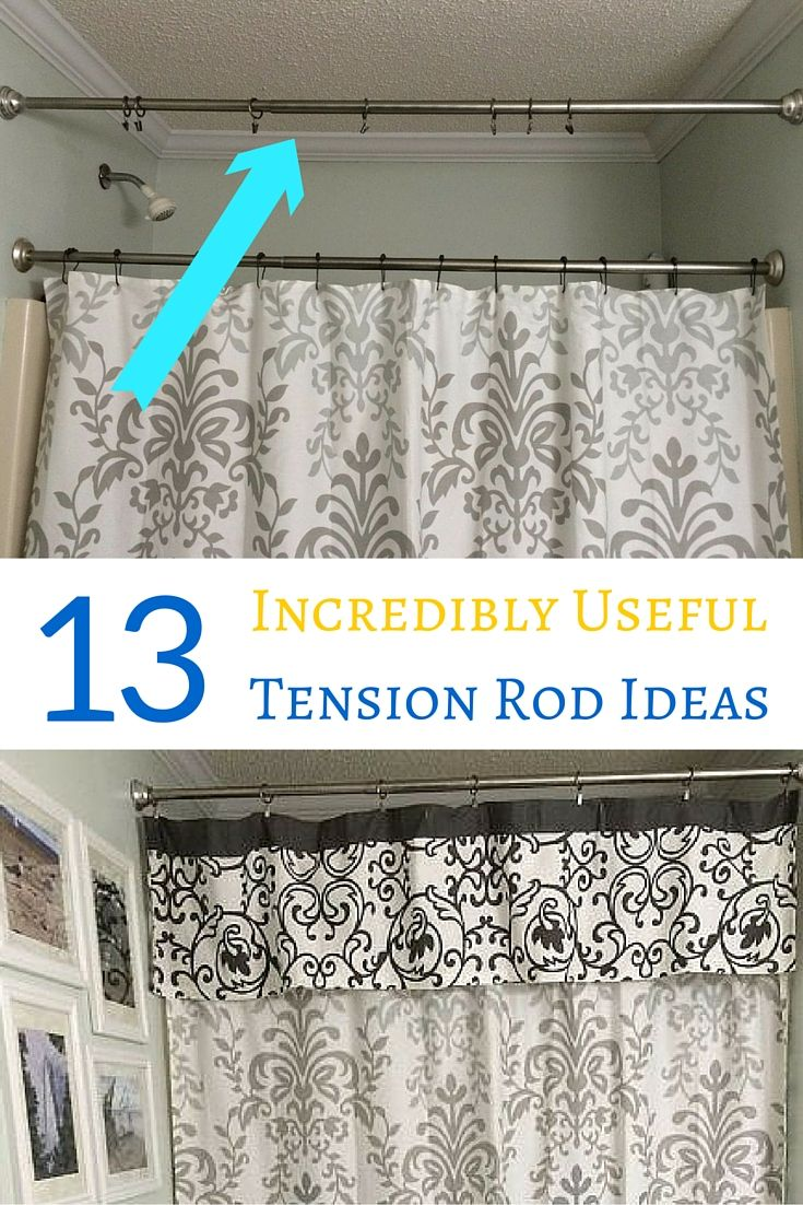 13 useful ideas for tension rods including lots of ideas for organizing