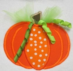 Tulle Pumpkin Applique - 3 Sizes!   Fall   Machine Embroidery Designs   SWAKembroidery.com Band to Bow