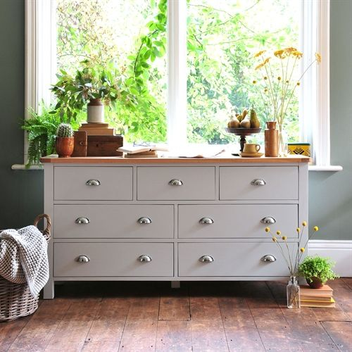 Portland Grey Wide 7 Drawer Chest from The Cotswold Company Painted Chest   Bedroom Storage  Grey Chest of Drawers  Olive Green Walls  Dried Flowers. 17 Best ideas about Bedroom Chest on Pinterest   Gray bedding