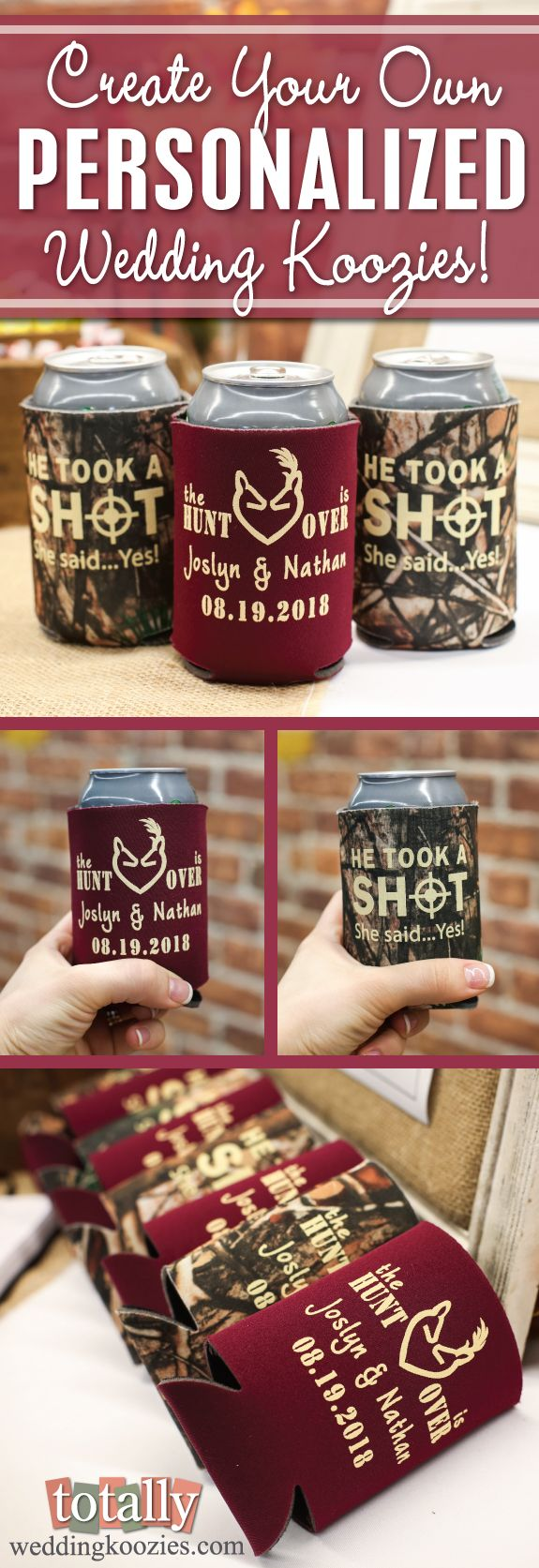 Create your own personalized wedding koozie with us, your guests will be thrilled when you provide them with custom can coolers at your wedding! This is a favor they will keep for years to come! Every wedding koozie order also comes with a FREE complimentary bride & groom koozie! Use coupon code PINFREESHIP and receive FREE Ground Shipping in the Continental United States! Code is not valid with other coupon codes and is valid through April 4, 2017!