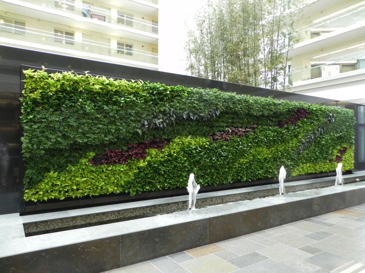 Decorations, Beautiful Indoor Green Wall Decorations: Embassy Indoor Green  Wall Feat Small Rectangular Fountain And Concrete Blocks Flooring For Best  Garden ...