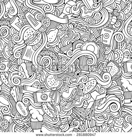 coloring pages fast food - seamless doodles abstract fast food pattern adult