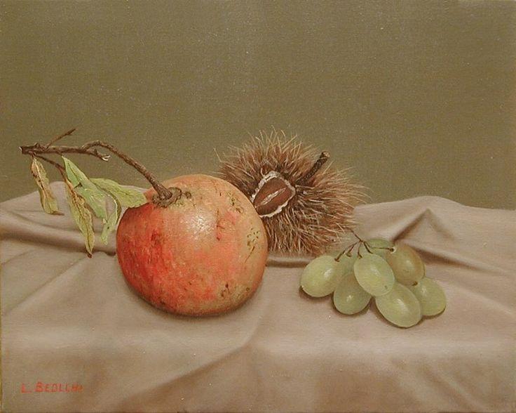 AUTORE : Luigi Beolchi  TITOLO : Melograno e uva TECNICA : Olio su tela di cotone MISURE : 24x30 cm