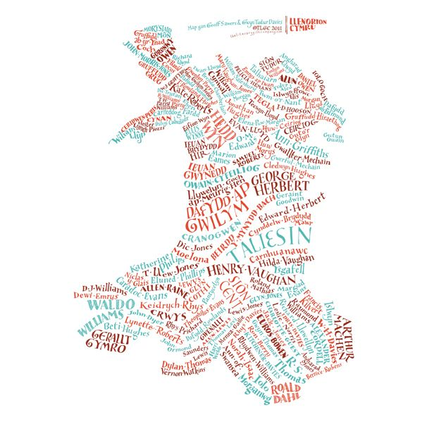 Literary Map of Wales / Map Llenorion Cymru: literary Wales as you've never seen it before! This original hand-lettered poster is exclusive to The Literary Gift Company features a total of 150 geographically connected authors.