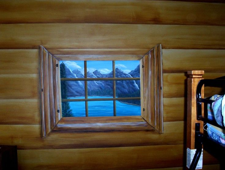 Faux_painted_log_cabin_walls