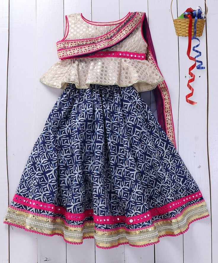 Pspeaches Indigo Lehenga With Attached Dupatta  #traditional #indiangirls
