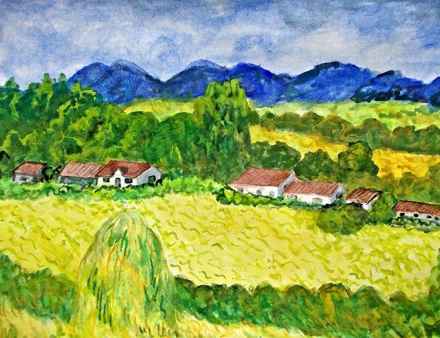 GALERIA PALOMO MARIA LUISA: Otro paisaje con almiares...inspirada en obra de C...