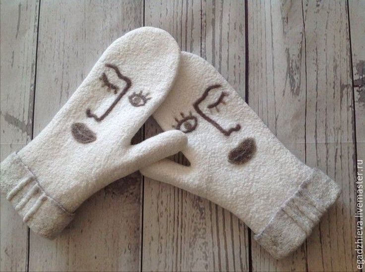 Купить Варежки валяные Эйронс повтор - белый, рисунок, варежки, рукавички, рукавицы, валяные варежки