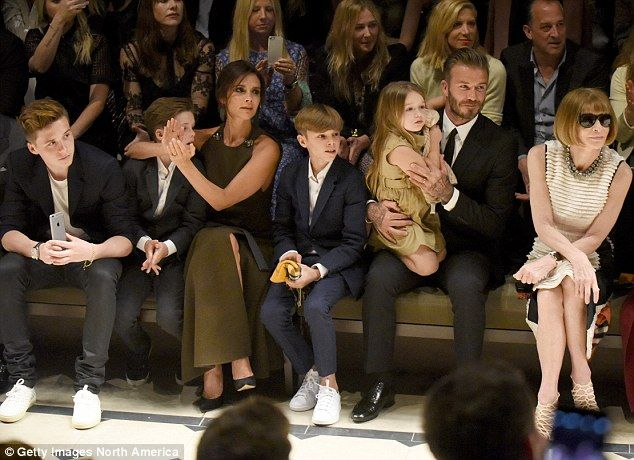 (From left) Victoria's children Brooklyn, Cruz , Romeo, Harper and husband David Beckham are front row regulars alongside to support her successful fashion career, along with editor-in-chief of American Vogue Anna Wintour (right). (2015)