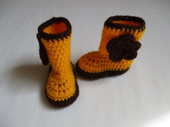 Crochet Baby Boots, Booties, Yellow and Brown Crochet Baby Girl Boots, Booties