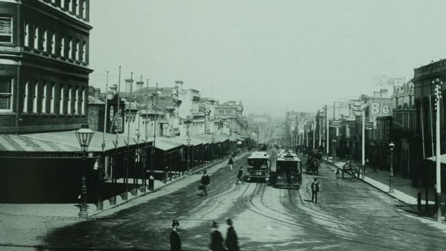 Bourke and Spring Streets, Melbourne, late 1880s with Nicholson Street Cable Tram (opened 1887)