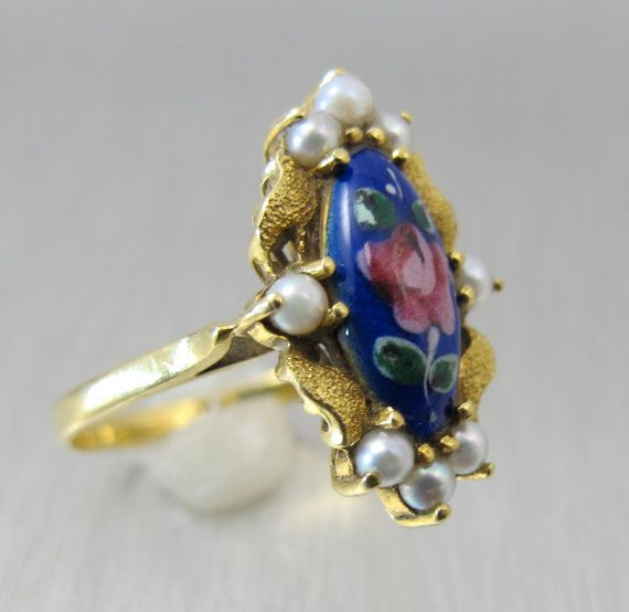 On Hold -18K Blue Enamel Ring, Hand Painted Flowers Seed