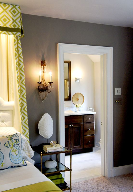 Farrow & Ball Charleston Gray - love the lime accents with the gray!