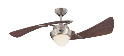 The Westinghouse Harmony Indoor Ceiling Fan has a refined contemporary look that balances well with any decor. With its brushed nickel finish integrated opal frosted glass light fixture and two dis...