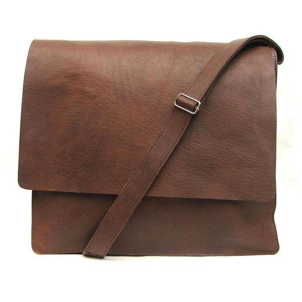 Messenger bag Mens Women Unisex Brown Leather Satchel leather handbag... ❤ liked on Polyvore