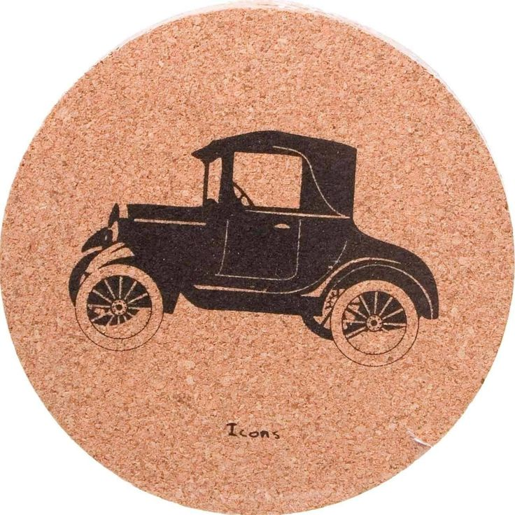 Cork Coasters Set Icons - Antique Car - now only $8.00!  #allgiftythings #karmakiss #YouKnowYouWantIt #UniqueGifts #UnusualGifts